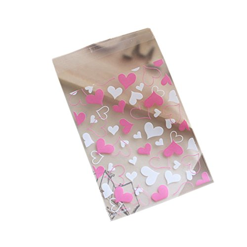 Cute Love Heart 100 Pcs Self Adhesive Cellophane Bags 8x10+3cm Baking Cookie Candy Biscuit Packaging Bags Wedding Party Gift ()