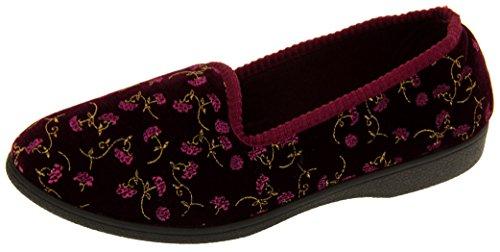 Bourgogne Femmes Four Floral Confortable Pantoufle Seasons ZwwXqRxA