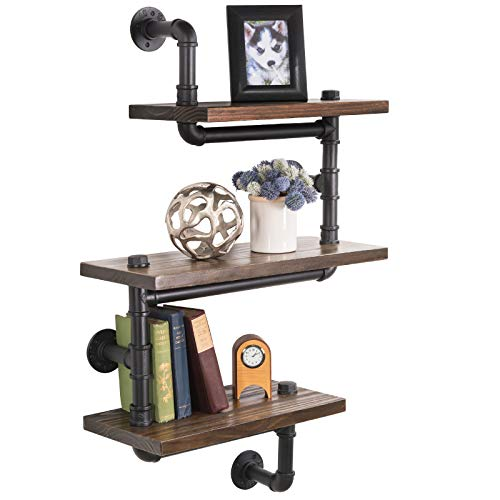 3-Layer Wooden Wall Floating Rustic Zig Zag Style Shelf 24