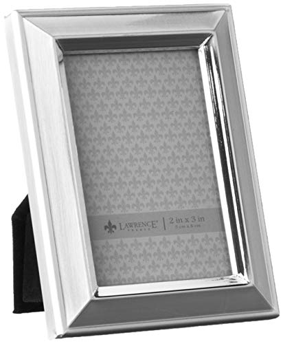 Lawrence Frames Brushed Silver Plated 2 by 3 Metal Picture Frame