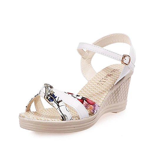 Moda Mujer De Pu Blanco Sandalias Y Para Alto Plantaformas Peep Tacones Con Casual toes Tacón Impresión Zapatos Verano Sunnsean vxwztWY