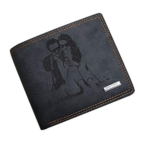 Personalized Mens Custom Photo Wallet Leather Wallet Mens Gift Father Day Gift(Black Single Side