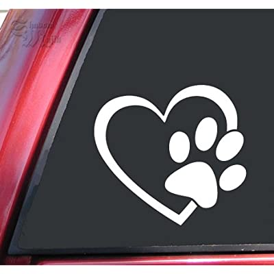 "ShadowMajik Heart and Paw Print Vinyl Decal Sticker (4"" X 3.7"", White): Automotive"