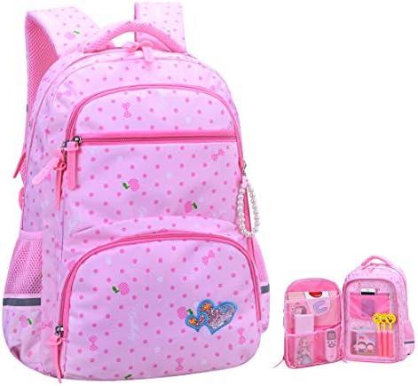 c9cf89613cf Girls Backpacks for Elementary, Polk Dots School Bag for Kids Primary  Bookbags (Girls Backpacks for Elementary Pink, Large for Grade 3-6)