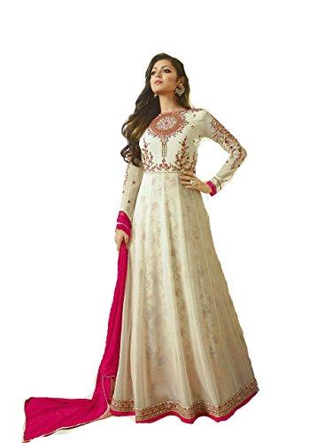 (Delisa Indian Wear Anarkali Salwar Kameez Party Wear LT2 (Cream,)