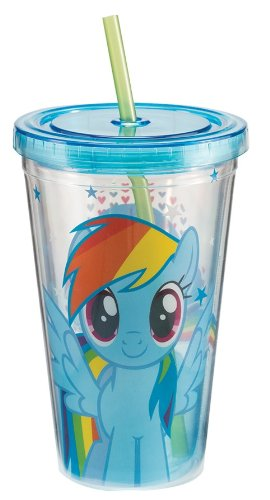 Vandor 42114 My Little Pony Rainbow Dash 18 oz Acrylic Travel Cup with Lid and Straw, Multicolor -