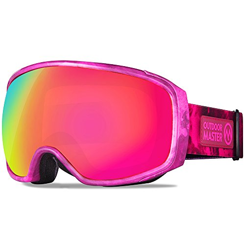 OutdoorMaster Ski Goggles PRO X - Ski & Snowboard Goggles with TruVis 2X Anti-Fog Lens - for Men, Women & Youth - Helmet Compatible (Pink Smoke + Fuchsia Lens (VLT - Goggles Pink Ski