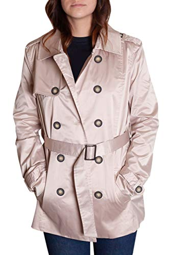 Satin Trench Jacket - Stitch Play Womens Satin Double Breasted Rain Jacket Trench Coat Belt Windbreaker Khaki,Large