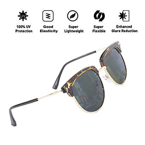 polarizada UV400 T3 favorece las para marco protección PC lente de reflectante hombres HD de montura moda gran las sol semi mujeres mariposa nuevo gafas con ATNKE de tamaño diseño sin gafas 4pqAwx5