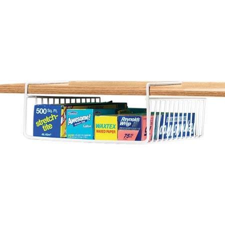 """SCS Direct Under Shelf Wire Rack Basket Kitchen Organizer - White - Easy to Install (12"""" x 12"""" x 5"""")"""