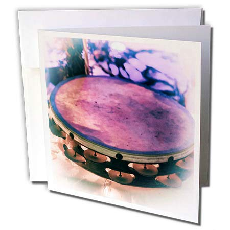 3dRose Susans Zoo Crew Music - Tambourine Vintage Style with Lights - 6 Greeting Cards with envelopes (gc_294868_1) -