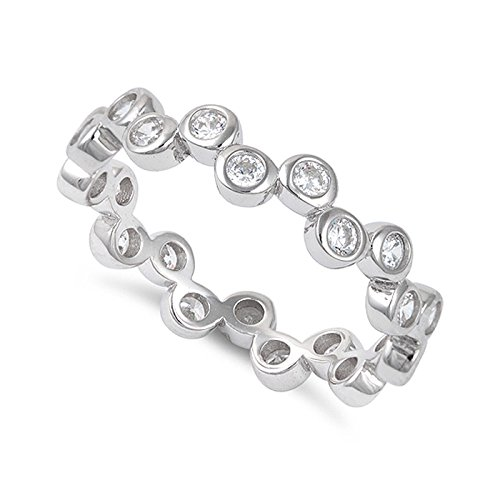 Sterling Silver Cz Stackable Bubbles Eternity Ring - Size 9