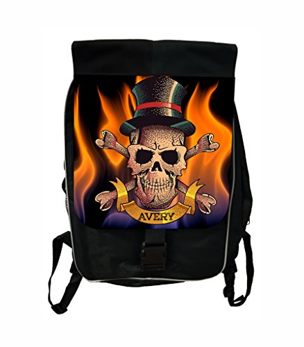 Flaming Skeleton Lea Elliot TM Customized School Backpack - Customize Your Own! ()