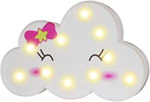 Pooqla LED Emoji Cloud Night Lights, 3D Smile Marquee Cloud Signs, Battery Operated Decorative Lamp Toy Home Wall Decor for Girls Kids Baby Nursery Room Dorm (Bowknot Cloud)