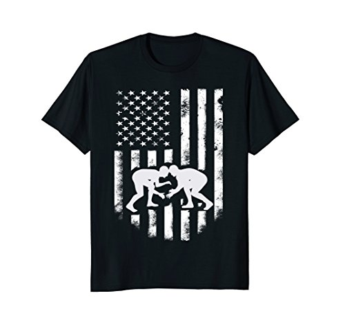 American Flag Wrestling T-shirt Distressed Wrestle Gift (Trendy Youth T-shirts)
