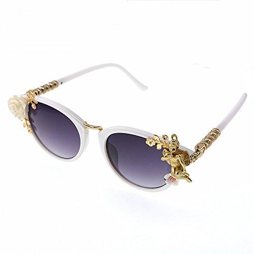 Gafas para polarizadas Las Gafas de de de ángel Sol de Ligero de Sol Metal Sol Moda Playa Mujer decoración barrocas Gafas Flores Gafas de de Ultra Mujeres de de Estilo de vwOIqE4