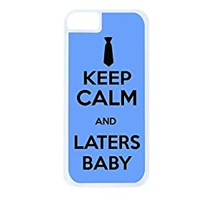 Keep Calm and Laters Baby - Blue - Hard White Plastic Snap - On Case with Soft Black Rubber Lining-Apple Iphone 4 - 4s - Great Quality!