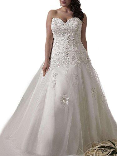 WeddingDazzle Applique Wedding Bridal Long Plus Size Wedding Dresses for Bride 24W White