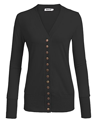 Qearal Womens V Neck Button Down Long Sleeve Soft Knit Snap Cardigans (Cotton Blend Cardigan)