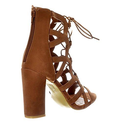 Camoscio Onlineshoe Camoscio Up Grigio Con Blocco Toe Donna Peep Sandal Nero Sabbia Lace Borchie 4pF48