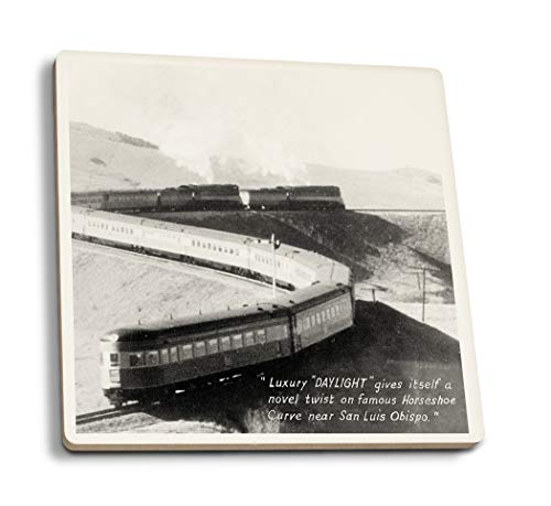 - Lantern Press San Luis Obispo, California - Daylight Train on Horseshoe Curve (Set of 4 Ceramic Coasters - Cork-Backed, Absorbent)
