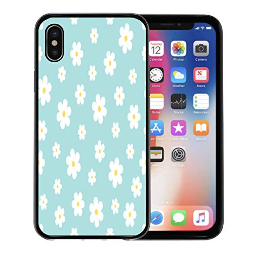 Semtomn Phone Case for Apple iPhone Xs case,Blue Baby Abstract Geometric Floral Pattern Yellow Simple Children Flower for iPhone X Case,Rubber Border Protective Case,Black