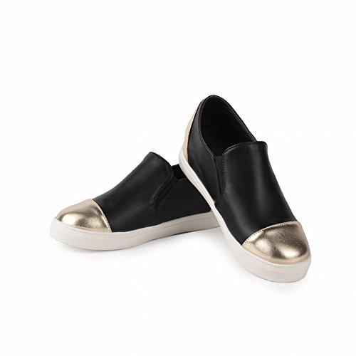 Carolbar Donna Colori Assortiti Comfort Moda Popolare Tallone Nascosta Scarpe Casual Nere
