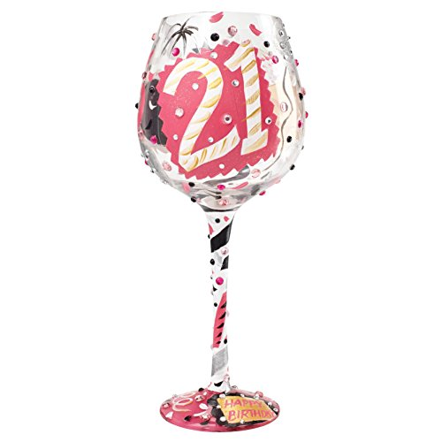 """Designs by Lolita """"Bling 21"""" Hand-painted Artisan Super Bling Wine Glass, 22 oz."""