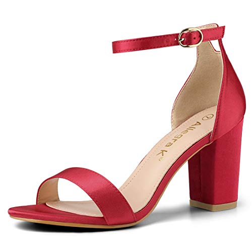 Strap Heels Allegra Ankle K Chunky Women Sandals Red Satin x1IwxY6