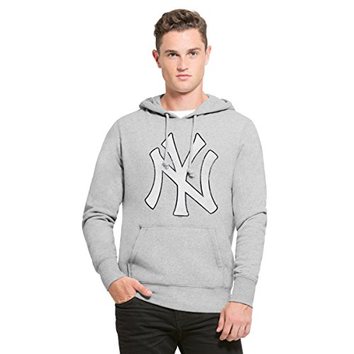 MLB New York Yankees Men's '47 Knock Around Headline Pullover Hoodie, Slate Grey, X-Large