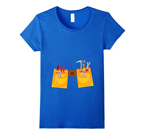 [Womens Workman Tool Belt Shirt | Handyman Costume for Toddlers Small Royal Blue] (Toddler Handyman Costume)