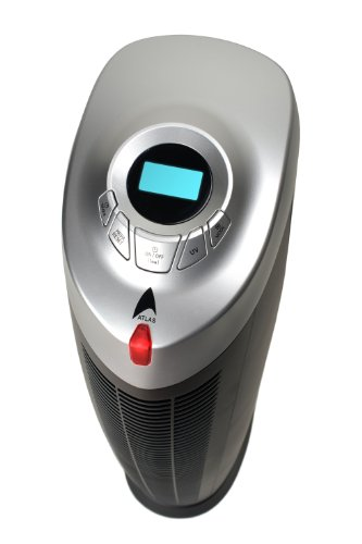 Model 9020 Atlas Black Tower Air Purifier with Remote, Negative Ionizer, True HEPA Filters & UVC Lamp! (Year Warranty!)