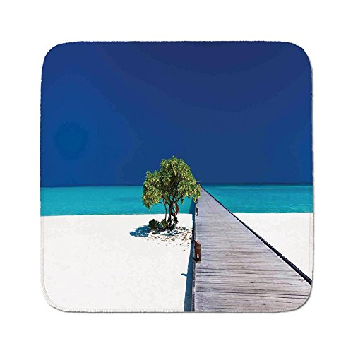 Cozy Seat Protector Pads Cushion Area Rug,Beach,Fantastic Beach with Wooden Platform Vibrant Ocean Sky Lonely Tree Serene,Navy Turquoise Cream,Easy to Use on Any Surface