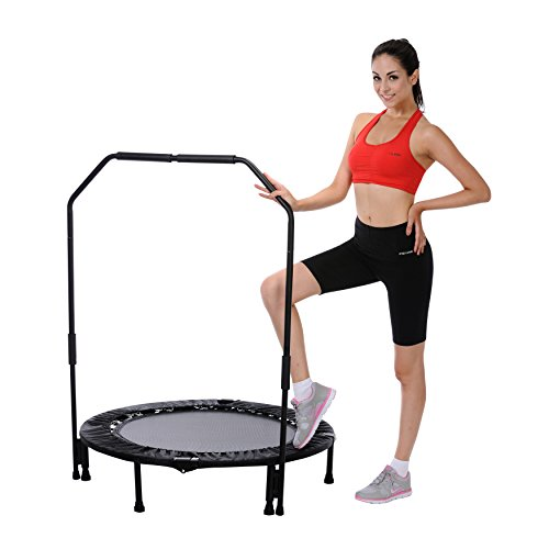 """Trampoline Workout Legs: Sunny Health & Fitness 40"""" Foldable Trampoline With Bar"""