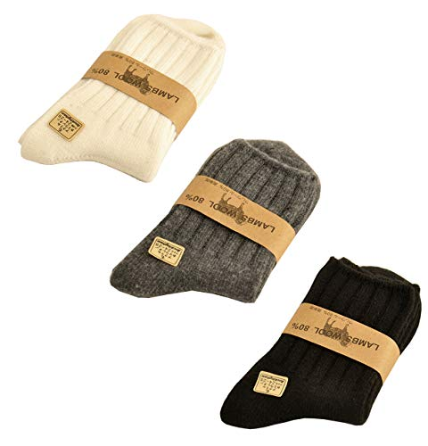3 Pairs 80% Lamb Wool Socks for Women Girls Winter Thicken Warm Crew Socks Solid Color (Black & Dark Grey & White)
