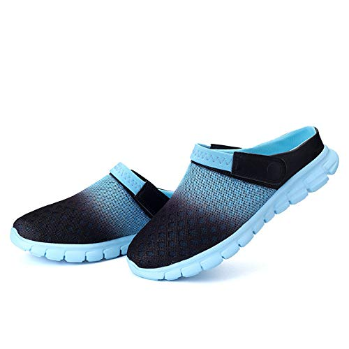 2b07437004f2e RUSLAN Breathable Mesh Clogs Sandals Women Man Summer Quick Dry Lightweight  Slippers for Garden Beach Outdoor Indoor Blue