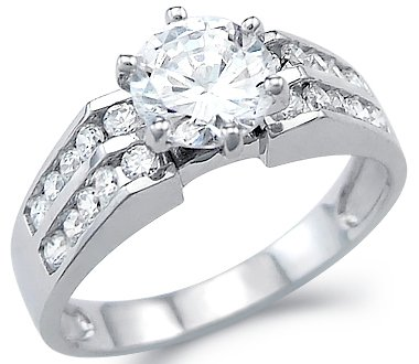 Size- 9 - Solid 14k White Gold Solitaire CZ Cubic Zirconia Engagement Wedding Ring Round Cut 2.0 ct