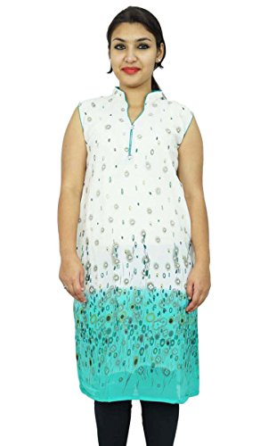 Diseñador de Bollywood Kurta Mujeres étnico Kurti ocasional superior de la túnica vestido Azul