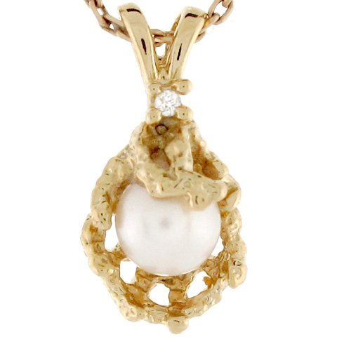 14ct Or Jaune Pendentif Femme Récif Coralien Serti D'une Perle Et Diamant