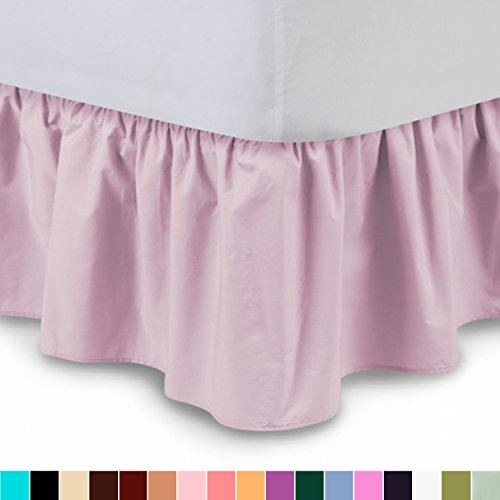 Ruffled Bed Skirt (Twin, Pink) 21 Inch Drop Bedskirt with Platform, Wrinkle and Fade Resistant - by Harmony Lane (Available in all bed sizes and 16 colors) (Pink Ruffle Dust Full)