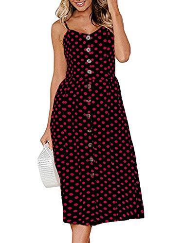 SWQZVT Women's Dress Summer Spaghetti Strap Sundress Casual Floral Midi Backless Button Up Swing Dresses Red Polka Dot M