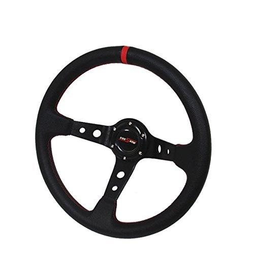 350mm Deep Dish 6 Bolt Steering Wheel Universal Custom (Red)