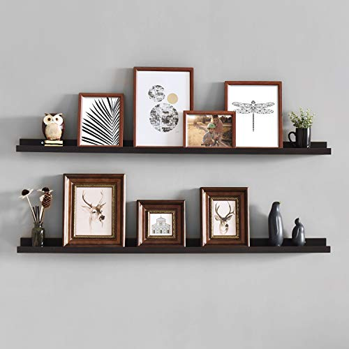 Vista Wall Frame - WELLAND Vista Photo Ledge Picture Display Wall Shelf Gallery, 48-inch, Set of 2, Espresso