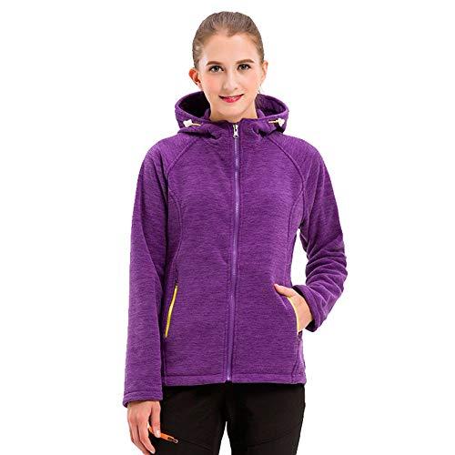 Zipper Hoodied Sweatshirt Outdoor Purple Autumn Women's Regular Jacket Thick DOLDOA Winter Fleece fit Warm zBCcgx