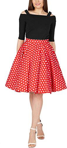 BlackButterfly Vintage Polka Dot Full Circle 1950's Skirt (Red, US 18) (Red Circle Full)
