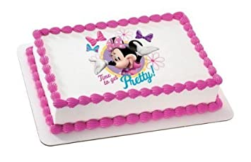 1 4 Sheet Minnie Mouse Time To Get Pretty Birthday Edible Image
