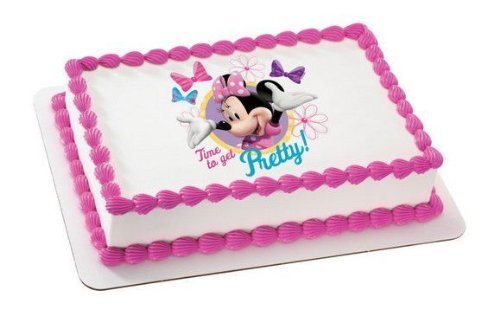 1/4 Sheet ~ Minnie Mouse Time to Get Pretty Birthday ~ Edible Image Cake/Cupcake Topper!!!