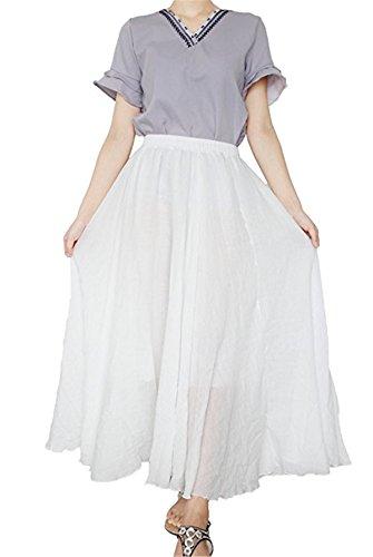 Couche Doux Femme Ruiying Jupe Maxi Couleurs Jupe Taille Double 20 Jupes Lin Jupes Coton Longues 95 Blanc Dames Haute cm Confortable aIa8r
