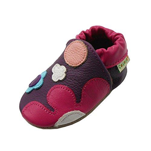 Sayoyo Suaves Zapatos De Cuero Del Bebé Zapatillas Flores rojo