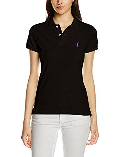 Ralph Lauren Women's Skinny Polo Pony Logo T-Shirt (X-Small, Black (Red - Black Red Lauren Ralph Polo Logo